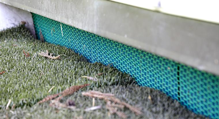土を掘って侵入しようとする動物を防ぐため、金網は地面から下60cmまで入っています。